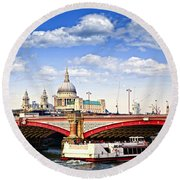 Blackfriars Bridge And St. Paul's Cathedral In London Round Beach Towel by Elena Elisseeva