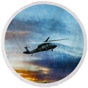 Blackhawk Helicopter Round Beach Towel