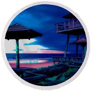 Blacklight Tower Round Beach Towel