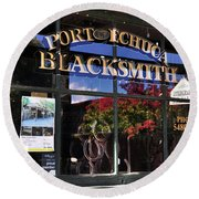 Blacksmith Shop Round Beach Towel