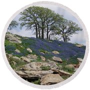 Blanketed In Blue Round Beach Towel