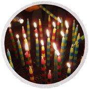 Blazing Amazing Birthday Candles Round Beach Towel
