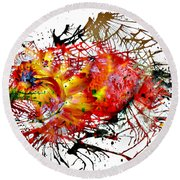Bleeding Petals  Round Beach Towel