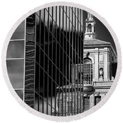 Blending Architecture Black And White Round Beach Towel