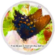 Blessed Are The Pure In Heart Round Beach Towel