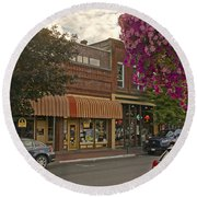 Blind Georges And Laughing Clam On G Street In Grants Pass Round Beach Towel by Mick Anderson