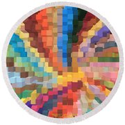 Blocks Of Color From A Pen And Ink Drawing Round Beach Towel