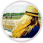 Blonde At Racetrack Round Beach Towel