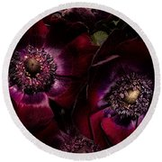 Blood Red Anemones Round Beach Towel