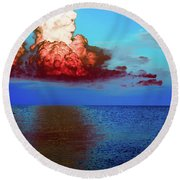 Blood Red Clouds Round Beach Towel