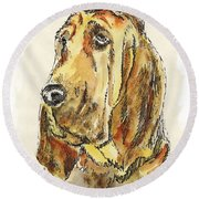 Bloodhound-watercolor Round Beach Towel