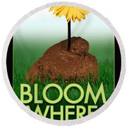 Bloom Where You Are Planted Poster Round Beach Towel