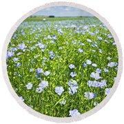 Blooming Flax Field Round Beach Towel