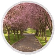 Blooms Along The Lane Round Beach Towel