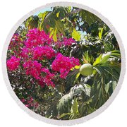 Blossoms And Breadfruit Round Beach Towel