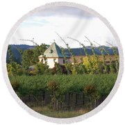 Blowing Grape Vines Round Beach Towel by Holly Blunkall