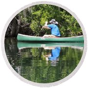 Blue Amongst The Greens - Canoeing On The St. Marks Round Beach Towel