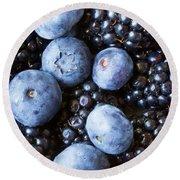 Blue And Black Berries Round Beach Towel