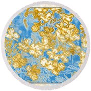 Blue And Gold Floral Abstract Round Beach Towel