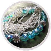 Blue And Silver Bead Bracelet Round Beach Towel