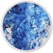 Ocean - Blue Abstract Art Paintingi Round Beach Towel