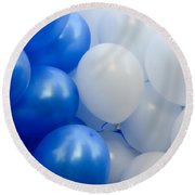 Blue And White Balloons  Round Beach Towel