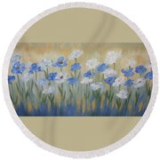 Blue And White Flora Round Beach Towel