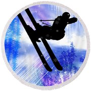 Blue And White Splashes With Ski Jump Round Beach Towel