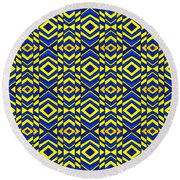 Blue And Yellow Chevron Pattern Round Beach Towel