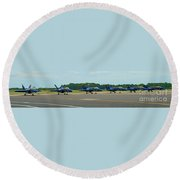 Blue Angels On Tarmac Round Beach Towel