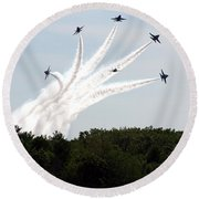 Blue Angels Star Burst Round Beach Towel