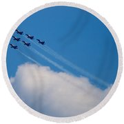 Blue Angels Up And Away Round Beach Towel