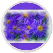 Blue Asters - Watercolor Round Beach Towel