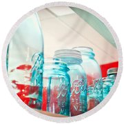 Blue Ball Canning Jars Round Beach Towel