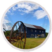 Blue Barn Round Beach Towel