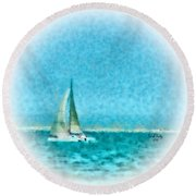 Blue Bayou Round Beach Towel
