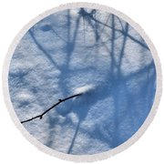 Blue Blackberry Shadows Round Beach Towel