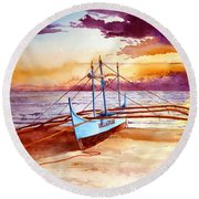 Blue Boat On The Shore Round Beach Towel