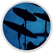 Blue Cymbalism  Round Beach Towel