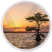 Blue Cypress Lake Sunrise Round Beach Towel