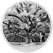 Blue Dog And The Spider Infrared Round Beach Towel