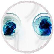 Blue Dye In Water Round Beach Towel