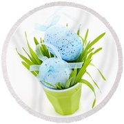 Blue Easter Eggs And Green Grass Round Beach Towel