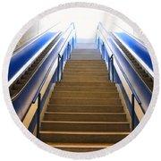 Blue Escalators Round Beach Towel