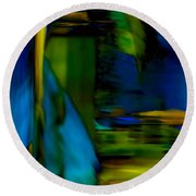 Blue Feather Reflections Round Beach Towel