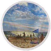Blue Flag And Red Sun Shade Round Beach Towel