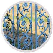 Blue Gate Swirls Round Beach Towel
