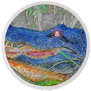 Blue Gator Round Beach Towel
