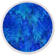 Blue Glass - Abstract Art Round Beach Towel by Carol Groenen