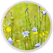 Blue Harebells Wildflowers Round Beach Towel
